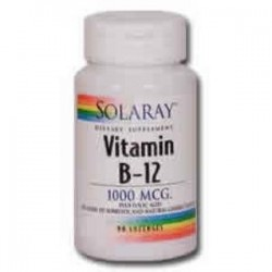 VITAMINA B12 CON ACIDO FOLICO 1000mcg. 90 Comp.,SOLARAY